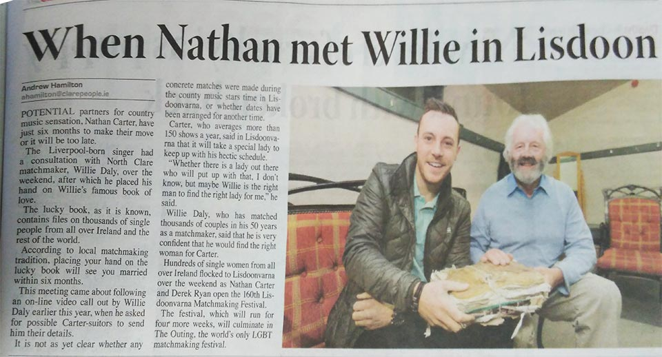 """When Nathan met Willie in Lisdoon"" Clare People Newspaper cutting"